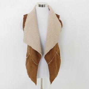 Sanctuary Clothing Fleece Lined Vest Size XS Brown